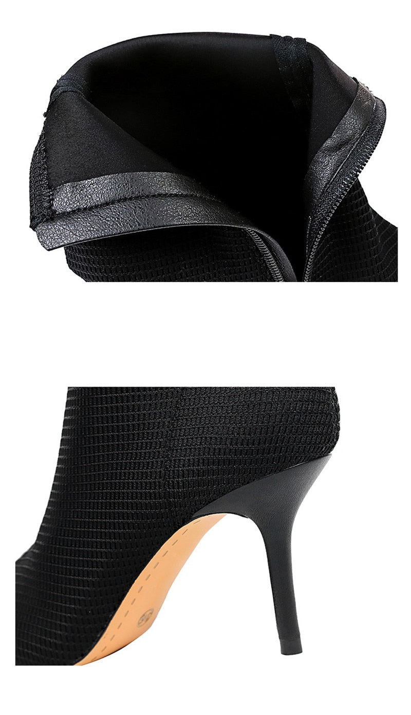 Pointed Toe PU Exotic Texture Pattern Thin High Heels Ankle Boots