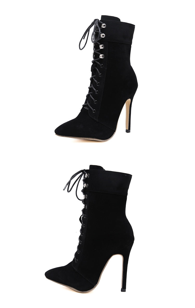 Exotic Autumn Winter Pointed Toe Thin Heels Zipper Rivet Ankle Boots