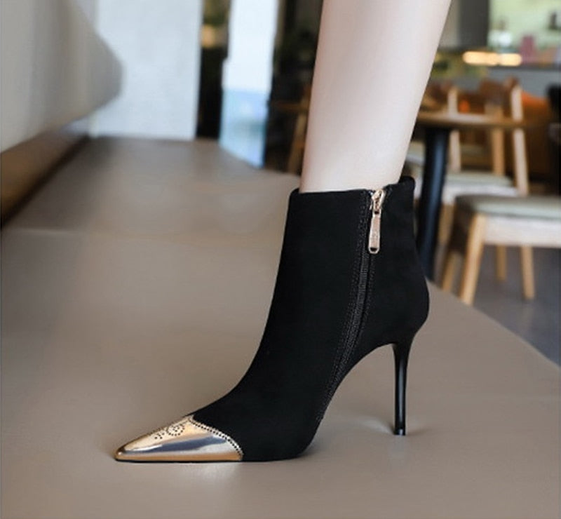 Exotic Winter Style Golden Metal Decorated Pointed Toe Ankle Boots