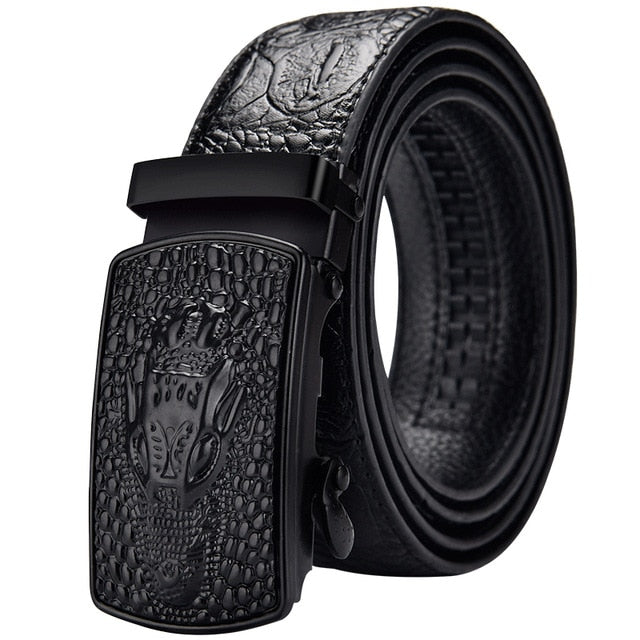 Casual Crocodile Pattern Leather Automatic Buckle Belt