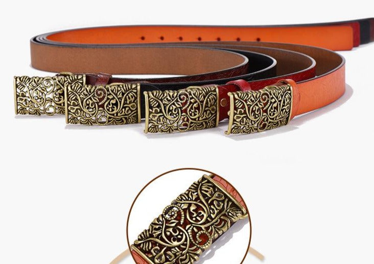 Exotic Texture Cowhide Leather Carved Strap Flower Buckle Belt