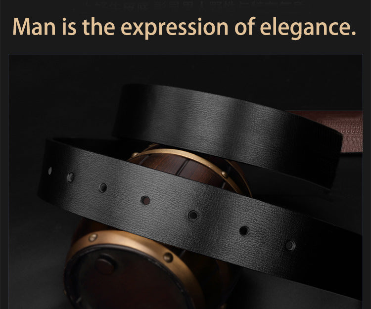 Exotic Smooth Texture Cowskin Leather Metal Buckle Belt