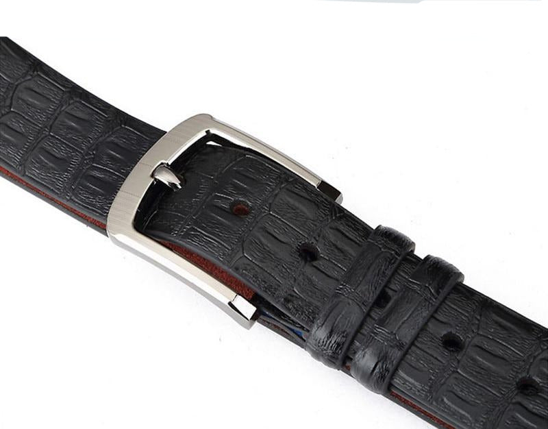 Exotic Striped Crocodile Pattern Metal Pin Buckle Leather Belt