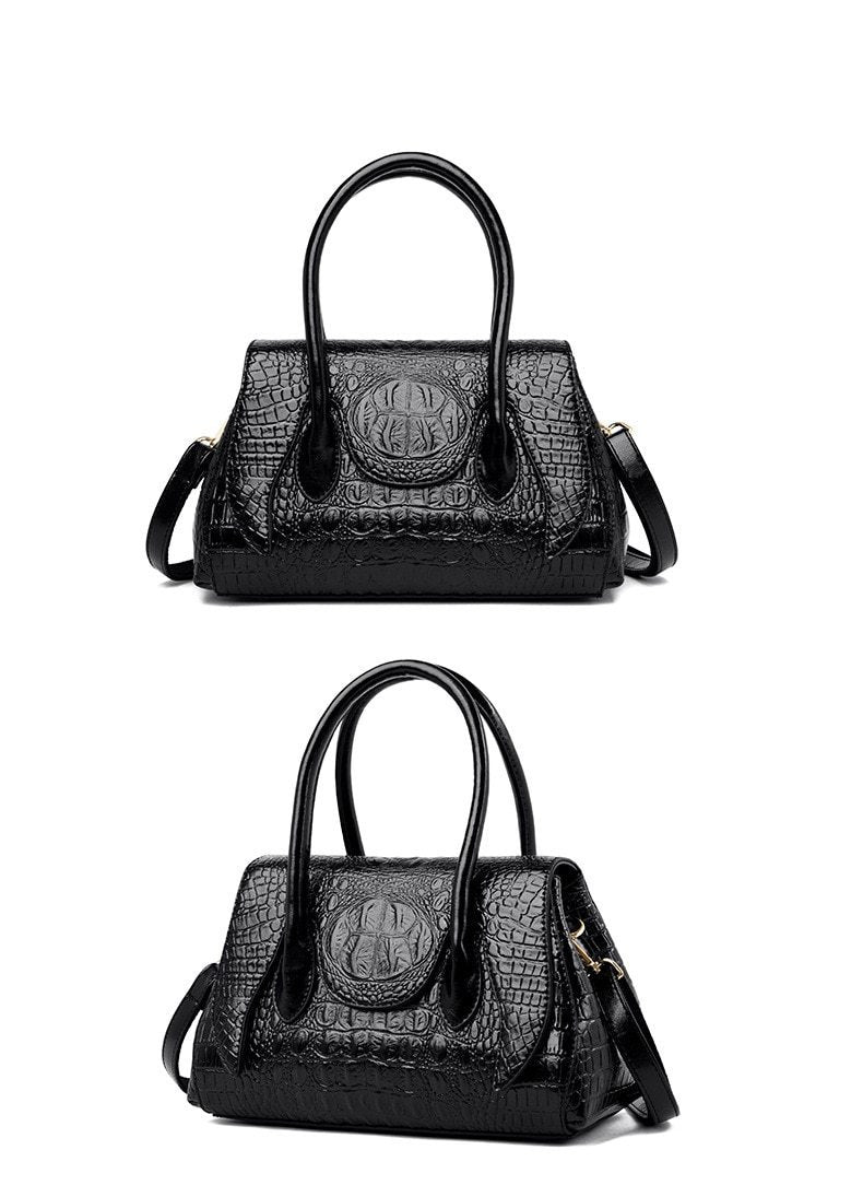 Vintage Alligator Pattern PU Zipper Tote Shoulderbag