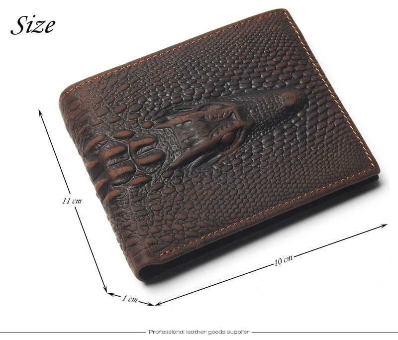 Embossed Crocodile Head Pattern Leather Wallet with Card Page