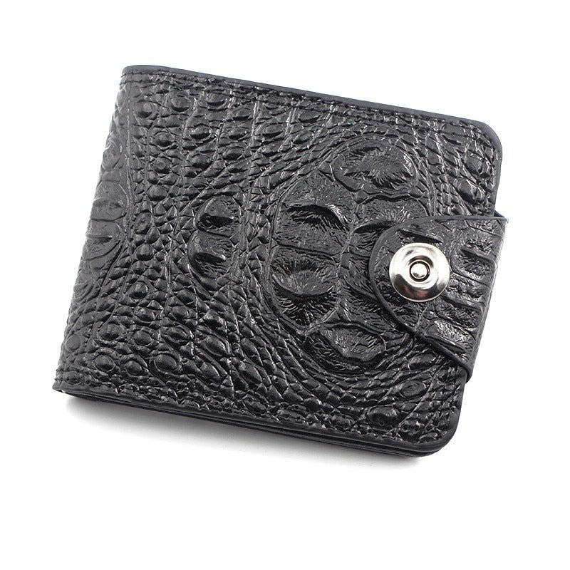 Embossed Gator Head Texture Leather Zipper and Hasp Wallet