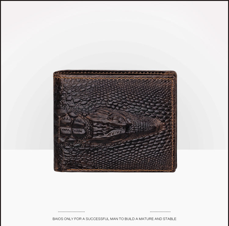 Cowhide Leather Solid Crocodile Pattern Short Wallet