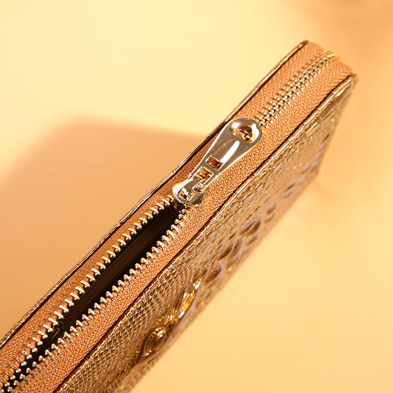 Single Pull Embossed Crocodile Head Pattern PU Long Zipper Wallet