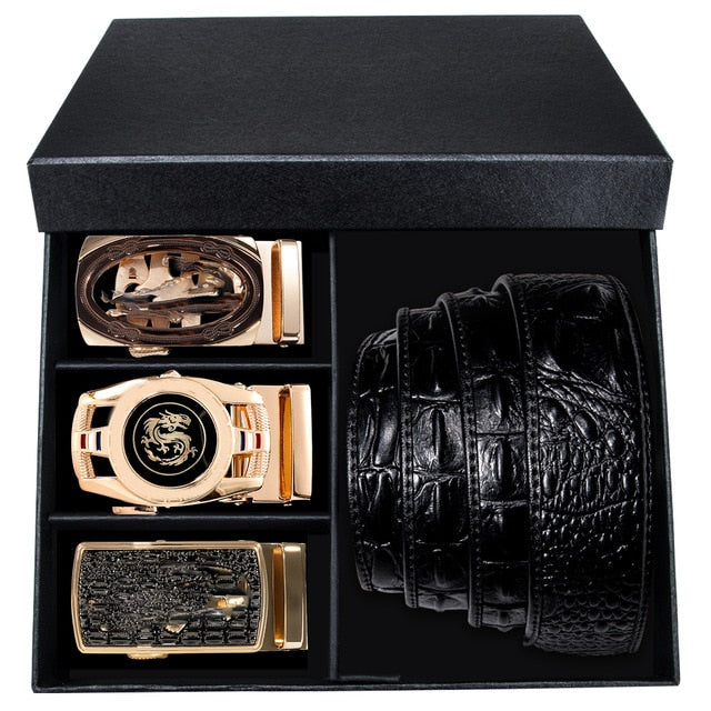 Exotic Pattern Automatic Buckle Cow Skin Leather Belt Collection