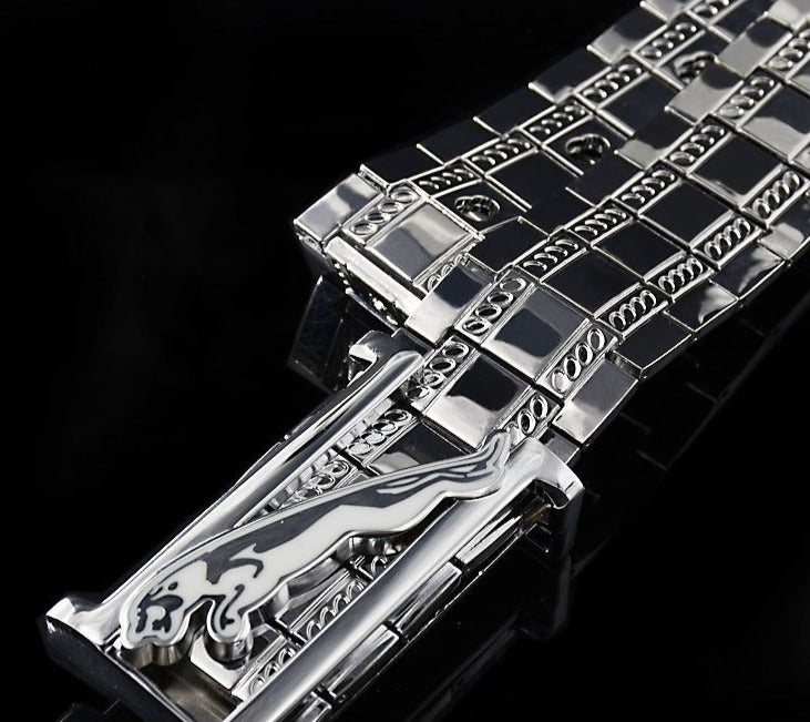 Exotic Stainless Steel Smooth Buckle Belt