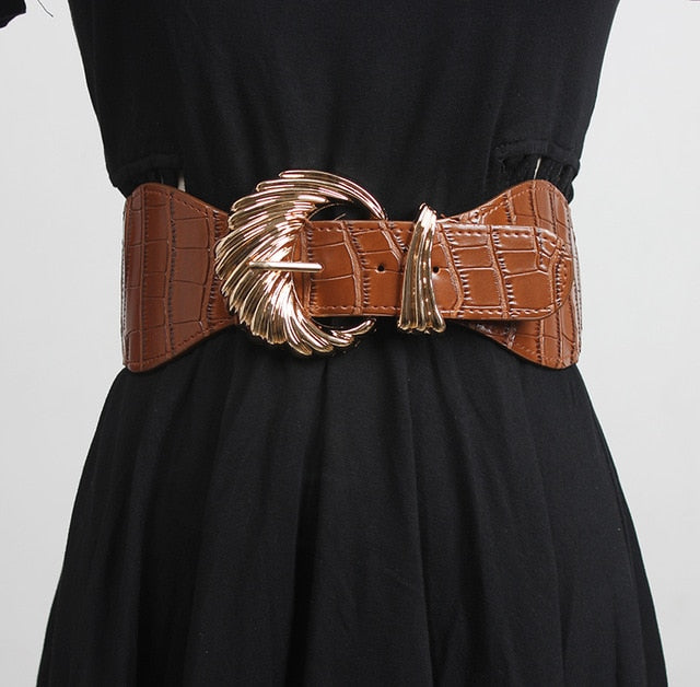 PU Crocodile Pattern Exotic Design Buckle Belt