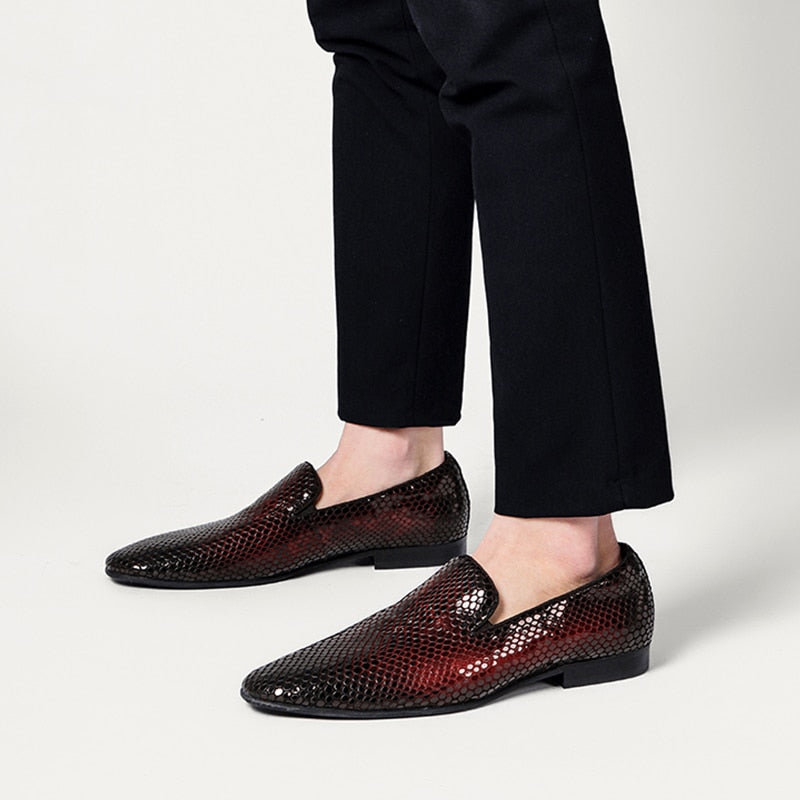 Leather Snake Pattern Slip On Loafers