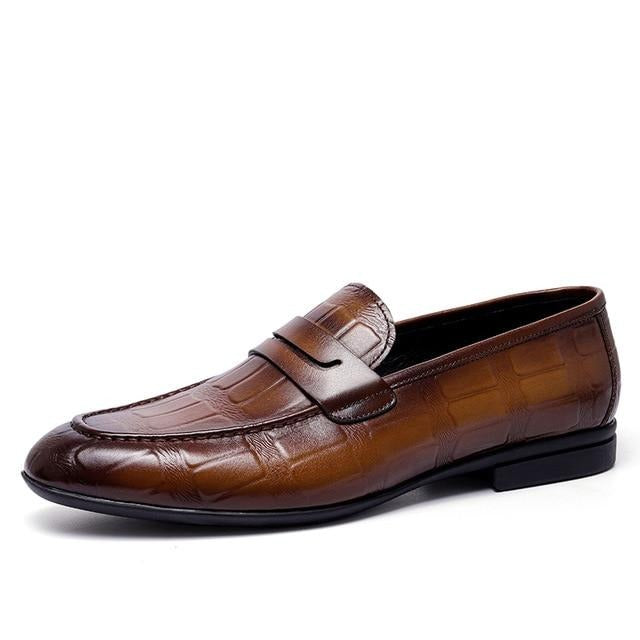 Luxury Genuine Leather Embossed Slip-On Dress Shoes