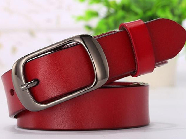 Luxury Solid Pattern Leather Strap Metal Pin Buckle Belt