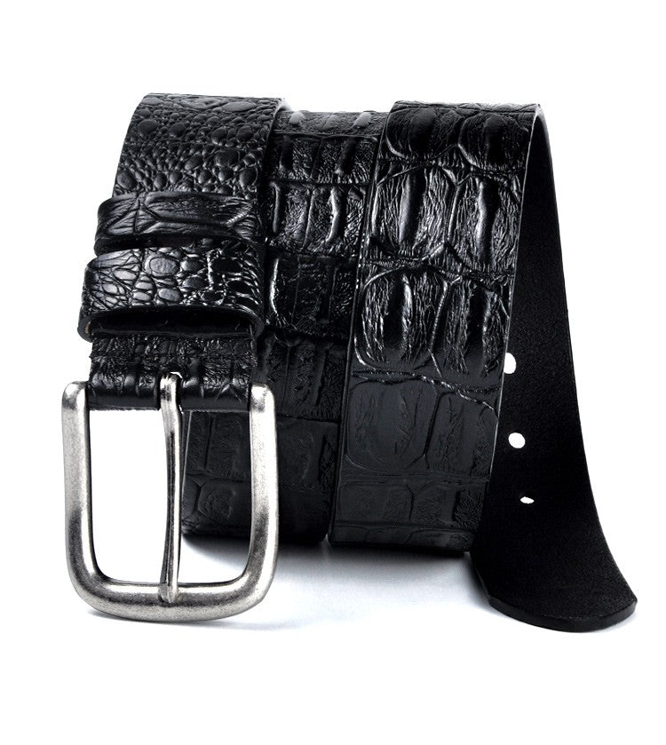 Solid Pattern Pin Buckle Alligator Print Cowskin Leather Belt