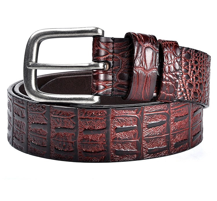 Classic Style Crocs Textured Genuine Leather Belt