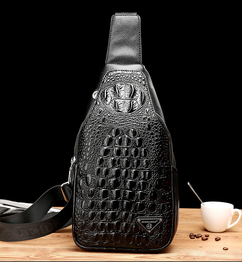 Full Grain Croc-Print Pattern Single Strap Fashion Sling Backpack