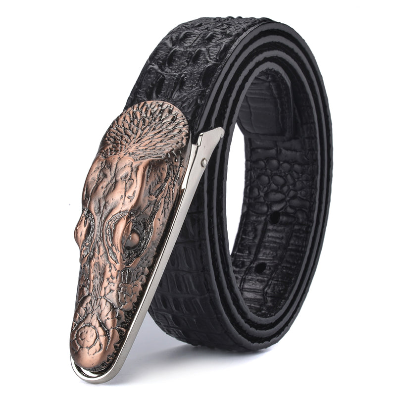 Croco Pattern Buckle Alligator Print Cowskin Leather Belt