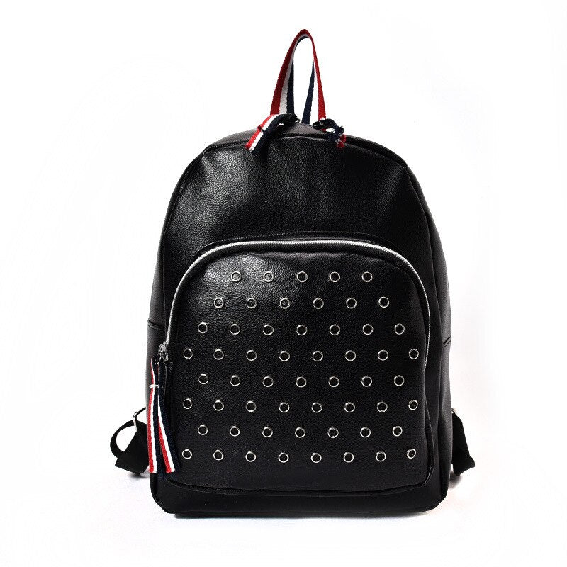 Preppy Style Exotic Embossed Pattern Riveted Leather Softback Backpacks