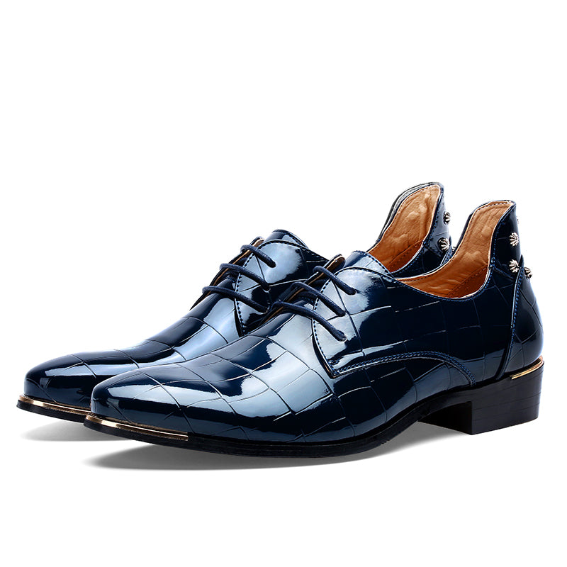 Lace-Up Patent Leather Brogue Dress Shoes