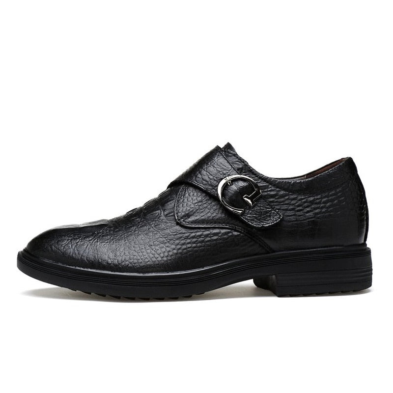 Leather Pointed Toe Slip-on Buckle Alligator Pattern Shoes