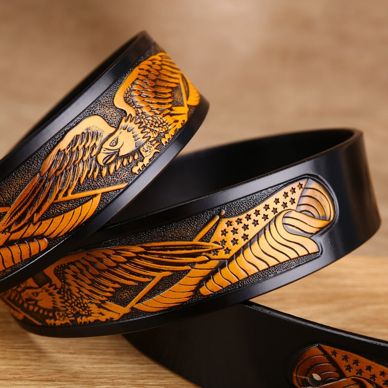 Metal Gold Eagle Exotic Embossed Cowskin Belt