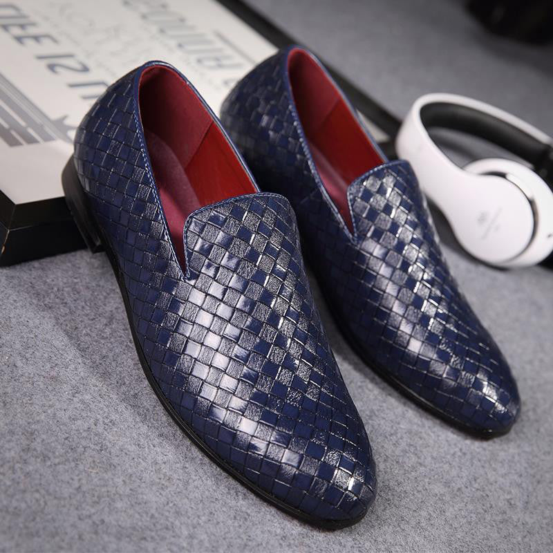 Glossy Croc-Embossed Texture Patent Leather Slip On Loafers