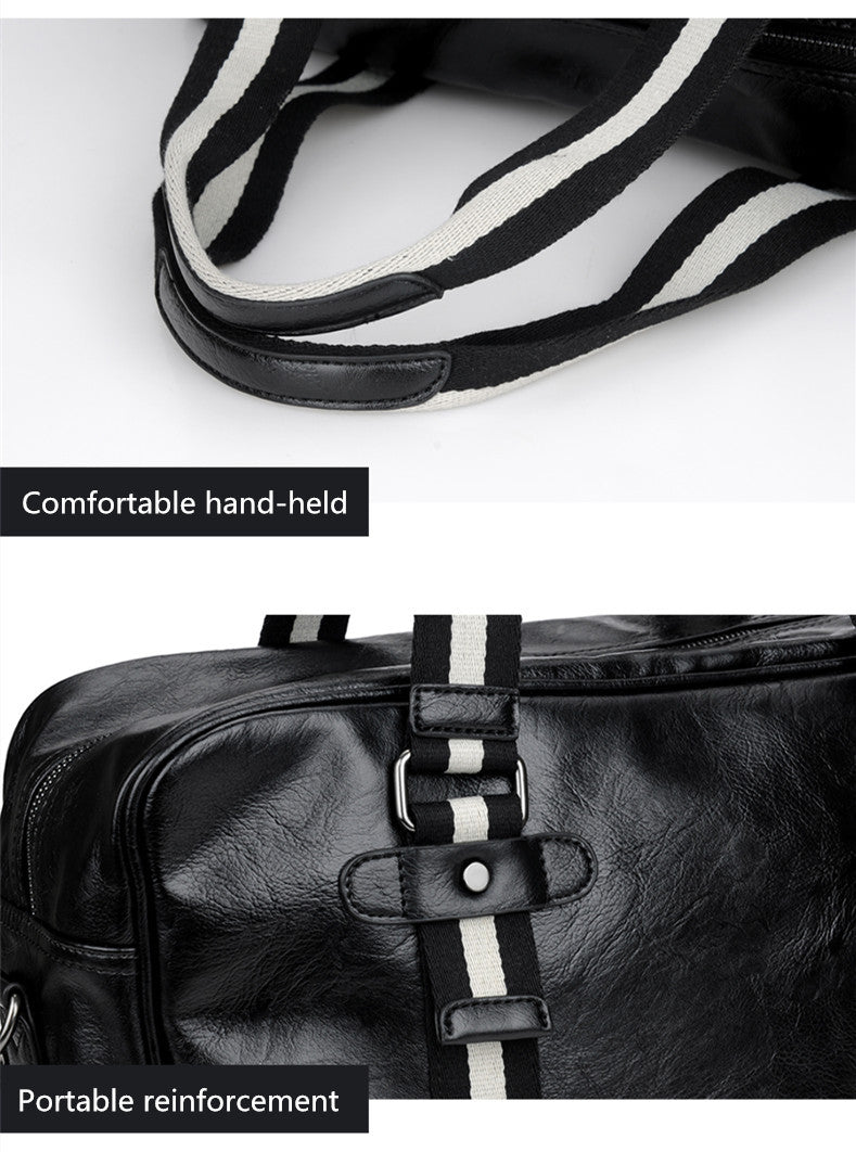 Soft Exotic Texture Striped Ribbon PU Leather Business Travel Bag