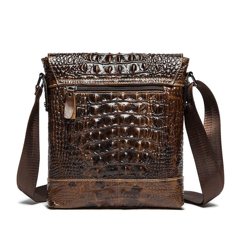 Leather Alligator Pattern Zipper Shoulder Messenger Bag