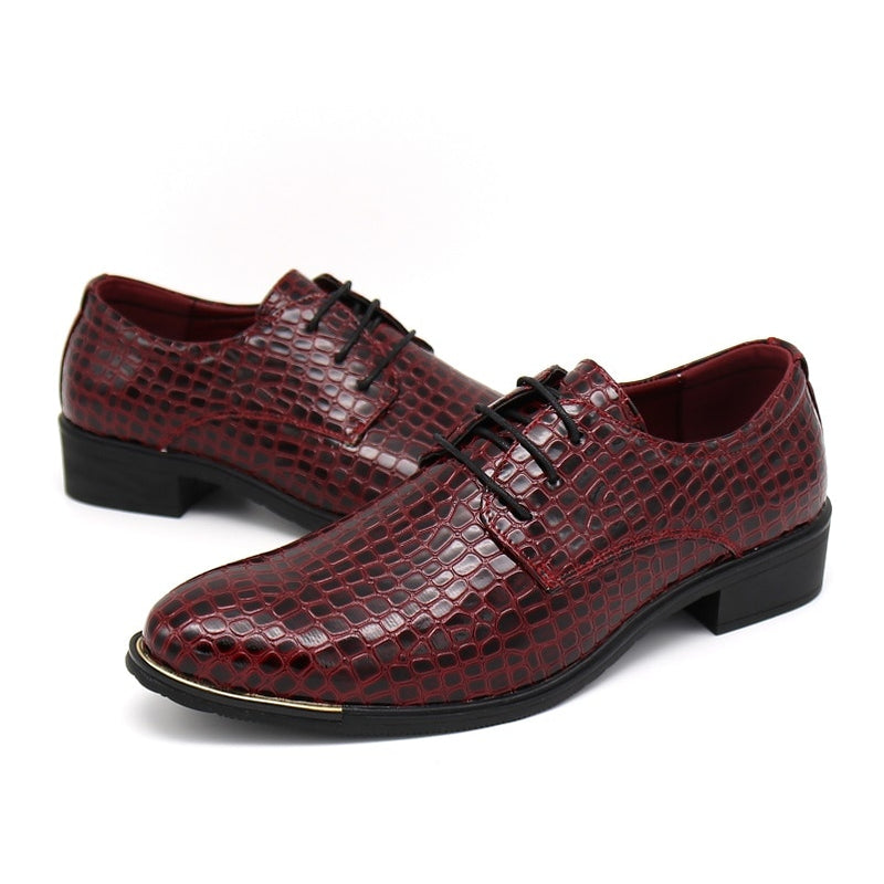 Alligator Embossed Pattern Lace Up Full Grain Leather Derby Dress Shoes