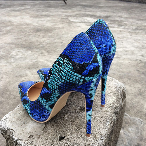 Multicolor Snake Pattern Microfiber Slip On High Heel Pumps