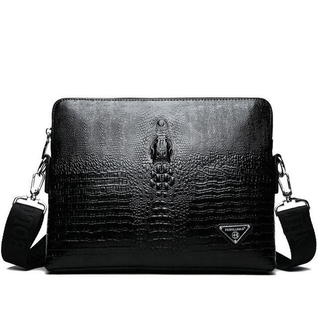 Classic Vintage Crocodile Pattern PU Leather Zipper Closed Briefcase