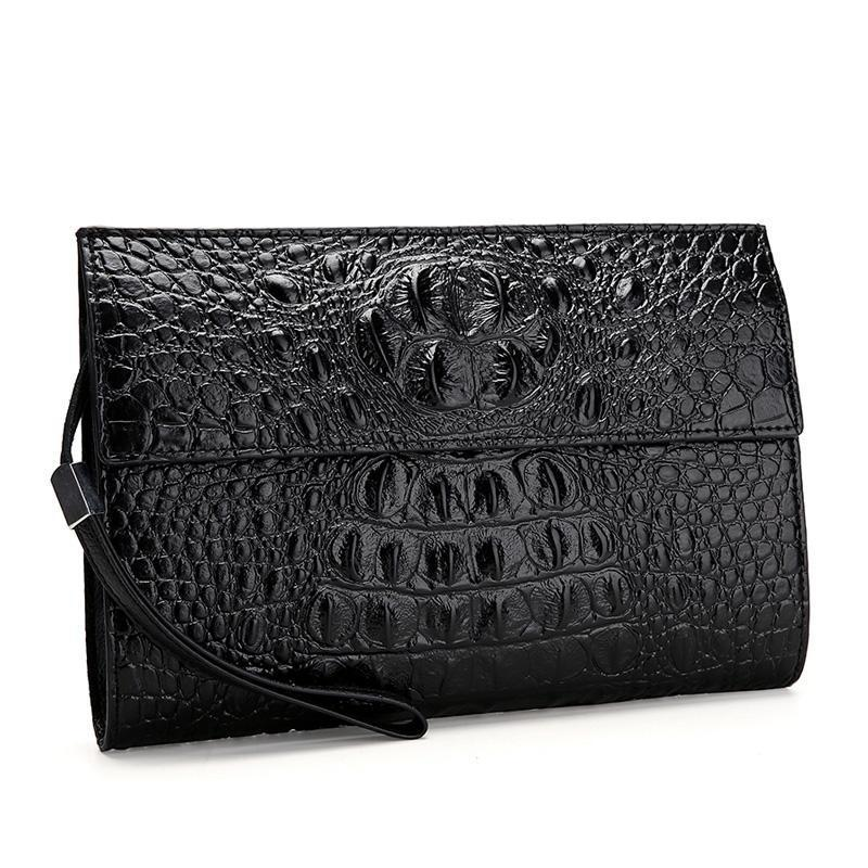 Synthetic Leather Croco Horn Back Embossed Pattern Clutch Wallet