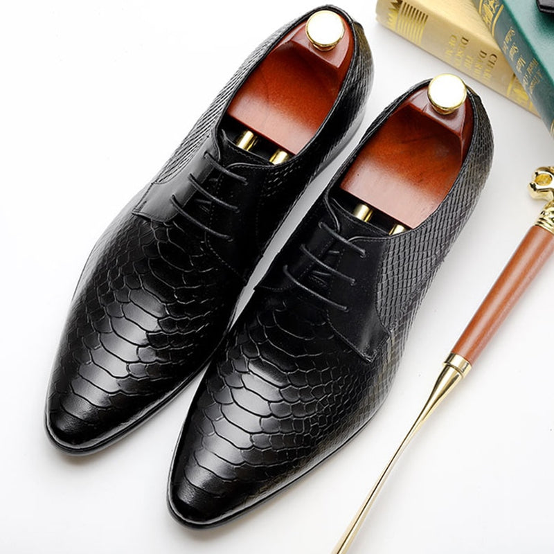 Cow Leather Snake Pattern Lace Up Dress Shoes