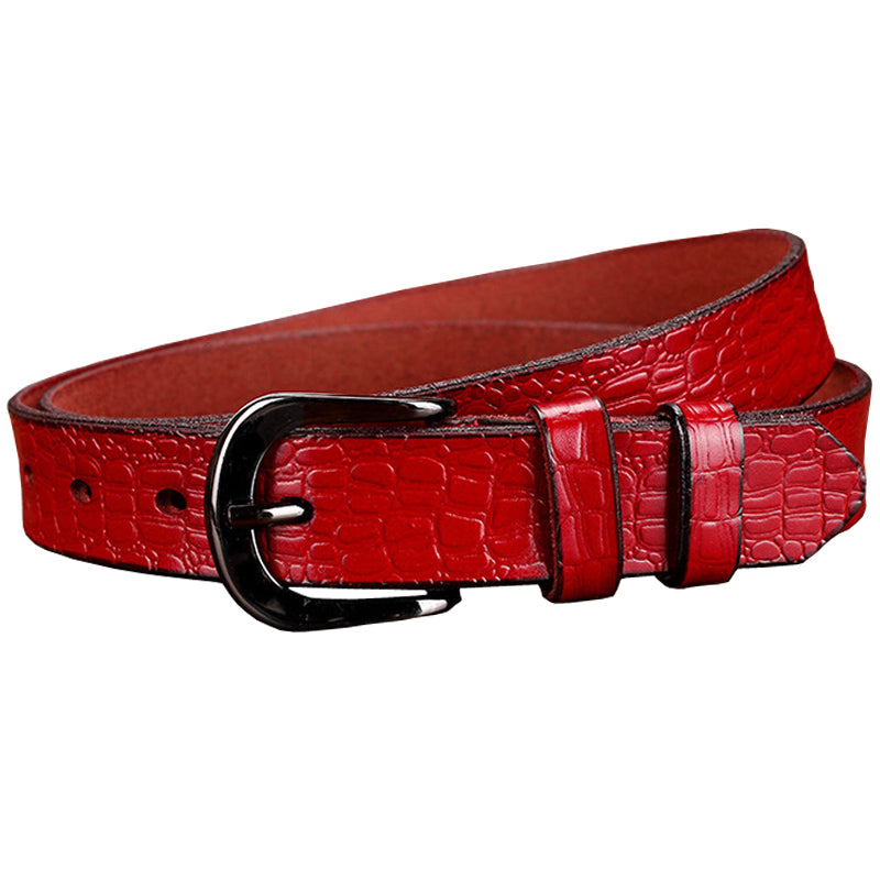 Crocodile Texture Cow Skin Leather Durable Flexible Soft Buckle Belt