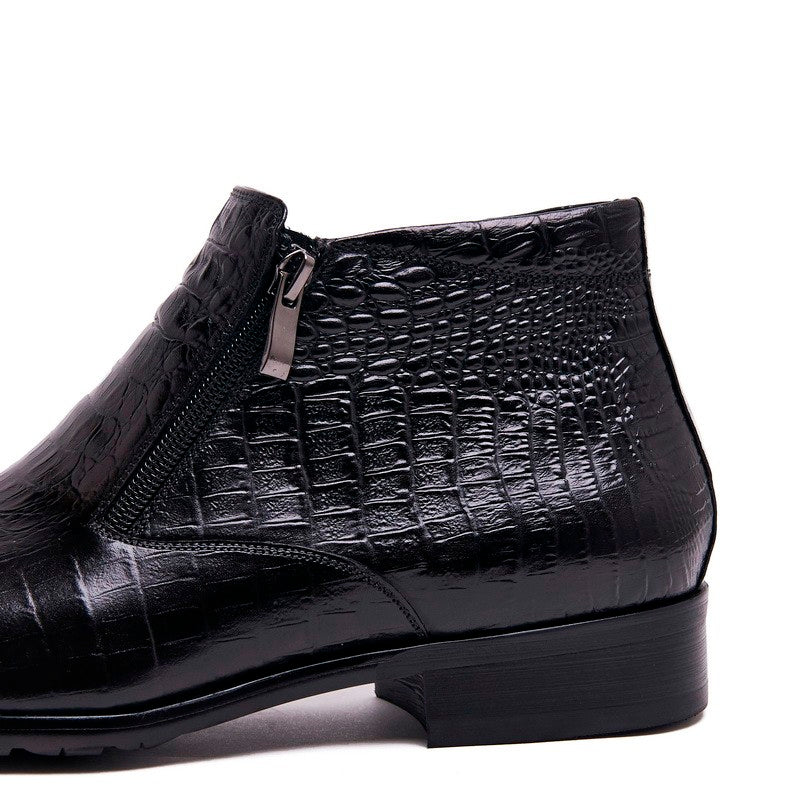 Deluxe Embossed Alligator Pattern Leather Chelsea Ankle Boots