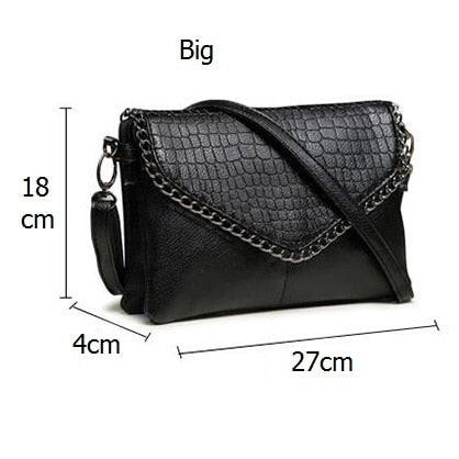 Crocodile Texture PU Leather Chain Decorative Tote Crossbody Bags