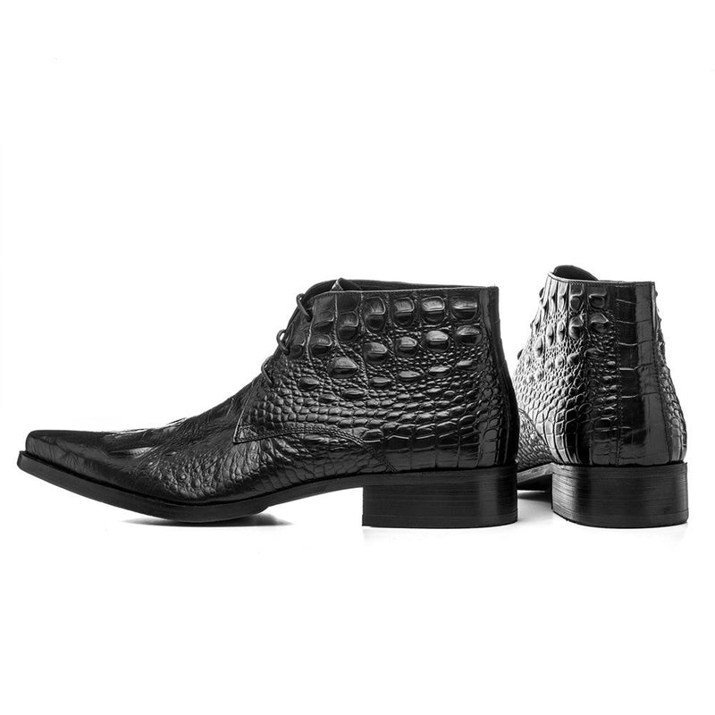 Leather Crocodile Pattern Pointed Toe Lace-Up Desert Ankle Boots