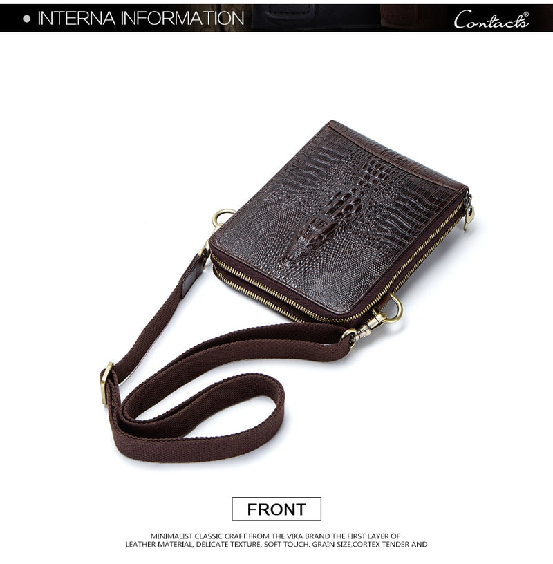 Soft Cow Leather Flap Zipper Pouch Sling Exotic Messenger Bag