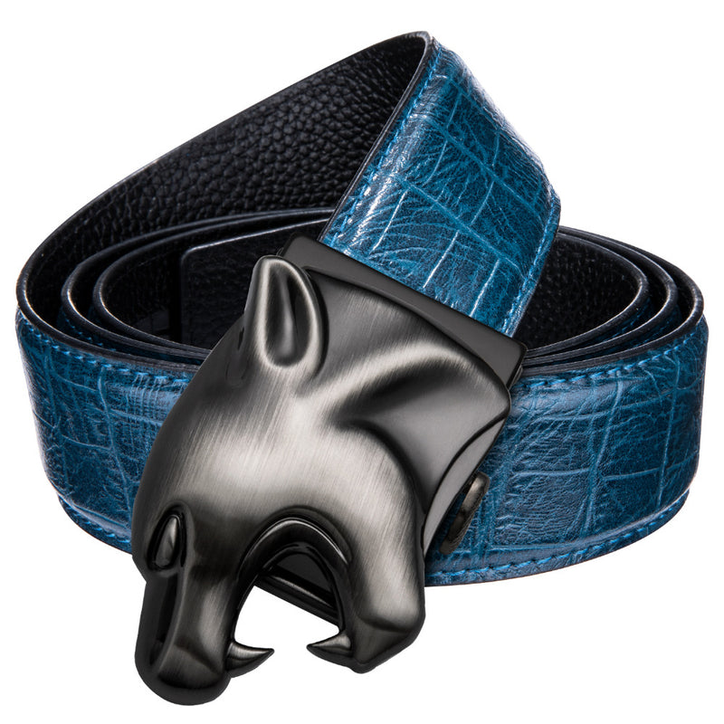Exotic Cow Skin Leather Crocodile Pattern Jaguar Buckle Belt