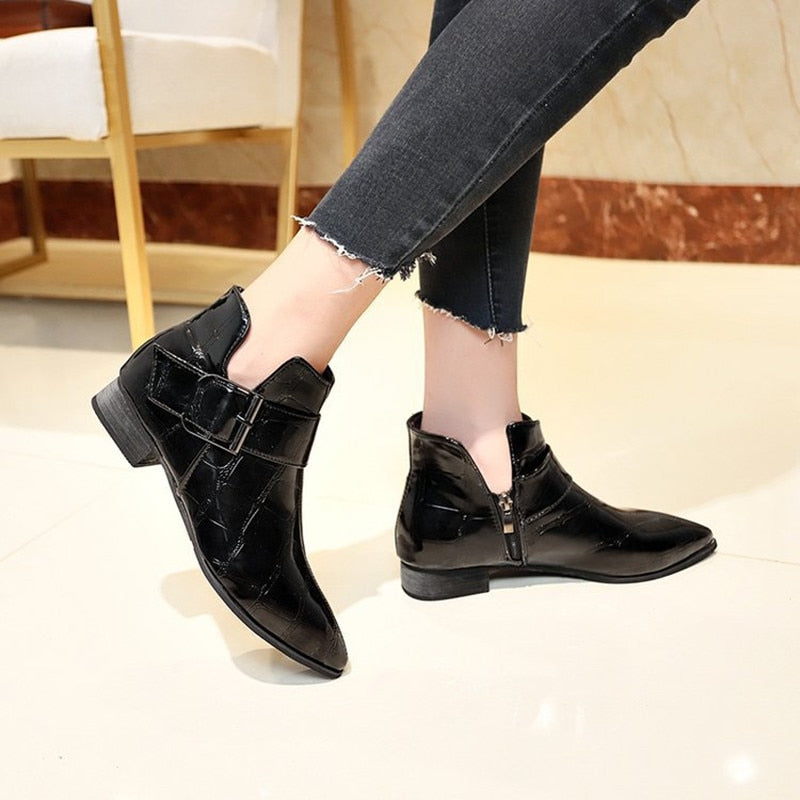 Pointed Toe Low Square Heel PU Leather Exotic Fashion Buckle Ankle Boots