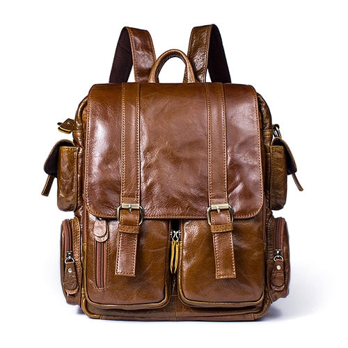 Exotic Leather 14inch Large Capacity Laptop Softback Backpack