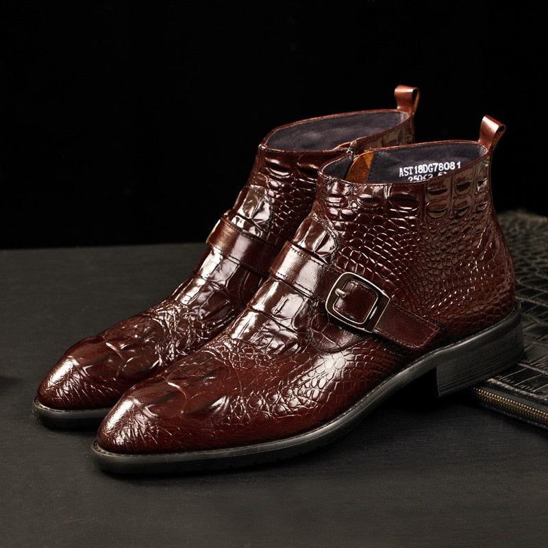 Leather Round Toe Alligator Pattern Deluxe Strap Boots