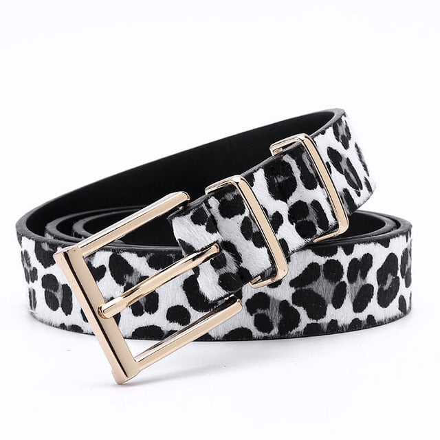 Leopard Pattern Zinc Metal Buckle Horsehair PU Leather Belts