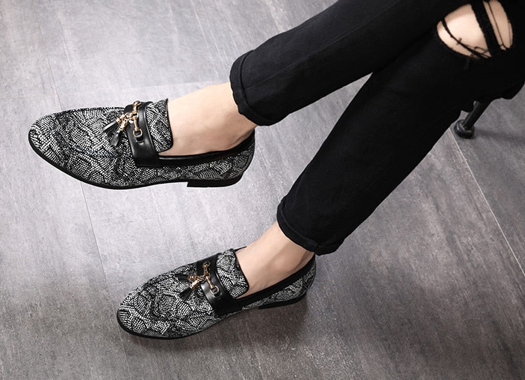 PU Leather Solid Exotic Textured Breathable Tassel Loafers