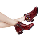 Glossy Alligator Cuban Heel Monkstrap Boots