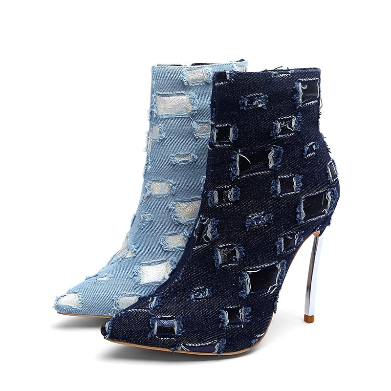 Winter Denim Unusual High Heels Pointed Toe Holed Fashion Zip Boots
