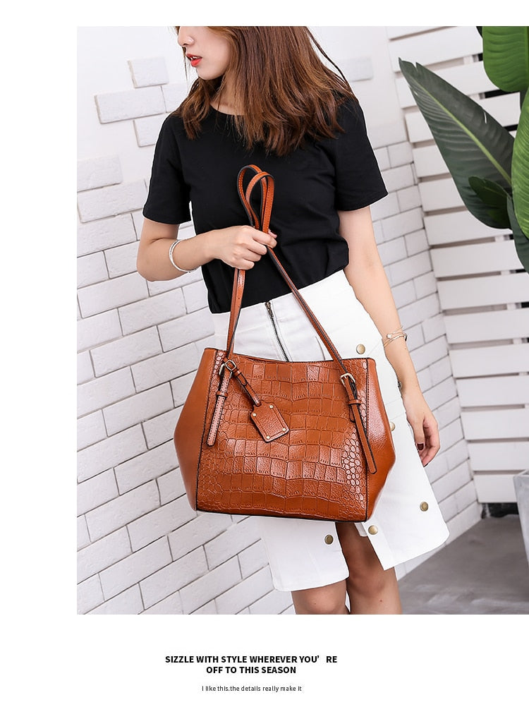 Soft PU Leather Diamond Lattice Textured Casual Tote Shoulder Bag