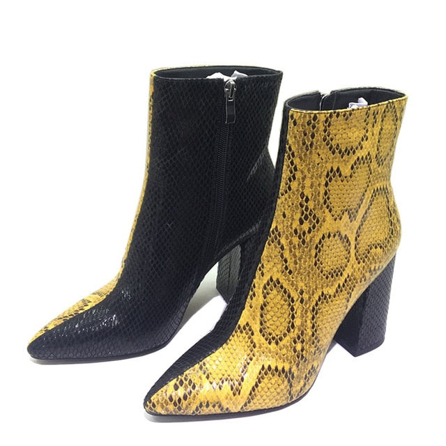 Spring Snake Print High Heels Ankle Pointed Toe Fashion Party Boots
