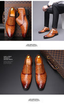 Glossy Crocodile Pattern Oxfords Dress Shoes
